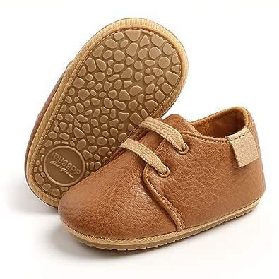 TIMATEGO Baby Boys Girls Oxford Shoes Hard Bottom Lace Up Sneaker PU Leather Moccasin Infant Toddler First Walker Uniform Dress Loafer Shoes 3-18 Months