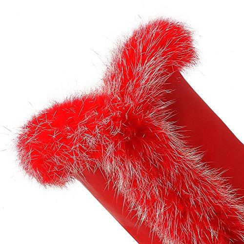 VogueZone009 Donna Tirare Punta Tonda Piattaforma Media Altezza Stivali Rosso