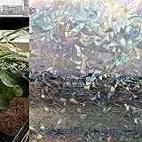 CottonColors 3D Pellicola Per smerigliato Finestre geometria Decorativa,Autoadesive,Anti-UV,Controllo di Calore,2Ft x 6.5Ft (60cm x 200cm)