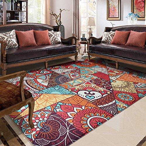 Xuanlan retro tappeti vento etnici, antisdrucciolevole molle, living room divano tavolino pad casa comodino coperta (color : a, dimensione : 120 * 180cm)