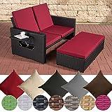 CLP Polyrattan 2er Loungesofa Ancona I Flachrattan Garten-Sofa mit ausziehbarem Fußteil und Verstellbarer Rückenlehne Rattan Farbe schwarz, Stärke 1,25 mm, Bezugfarbe: Rubinrot