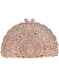 Damen Clutch Abendtasche Handtasche Geldbörse Glitzertasche Strass Kristall Pfau Tasche mit wechselbare Trageketten von Santimon Gelb Santimon