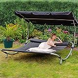 Loywe Sonnenliege Doppelliege mit Dach für 2-Personen (Klassisches Schwarz)