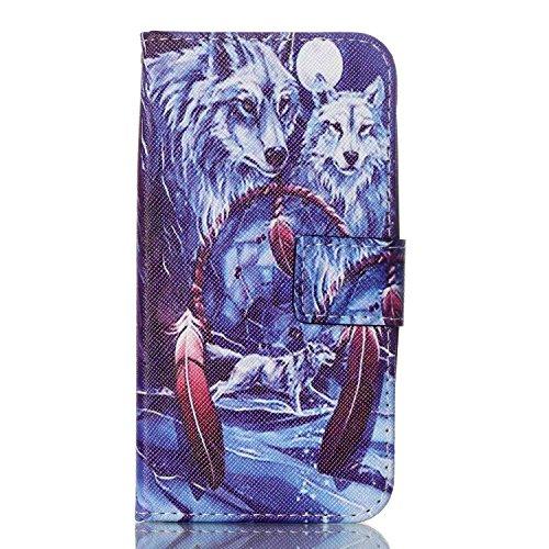 Samsung Galaxy J3 2015 Hülle,Sunroyal PU Leder Brieftasche Schutzhülle Tasche Handyhülle Schutz Hüllen im Bookstyle Ledertasche mit Stand Funktion Kartenfächer Magnetverschluss Magnet Etui Schale Schu #Wolf