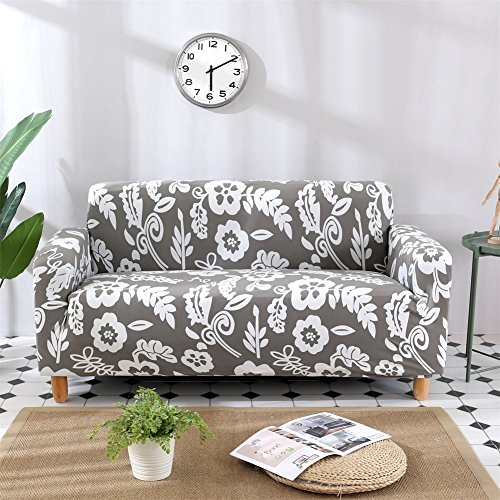 HOTNIU 1 Stück Stretch Sofa Couch Bezüge - Spandex Printed Loveseat Couch Schonbezug - Sessel Sesselbezug/Protector One Free Kissenbezug (2 Sitzer 135-170cm, Gemustert #12)