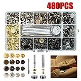 480 Set Bottoni a pressione metallo con vite,pinza,Roeam bottoni pressione Set di strumenti per la regolazione di bottoni in tessuto