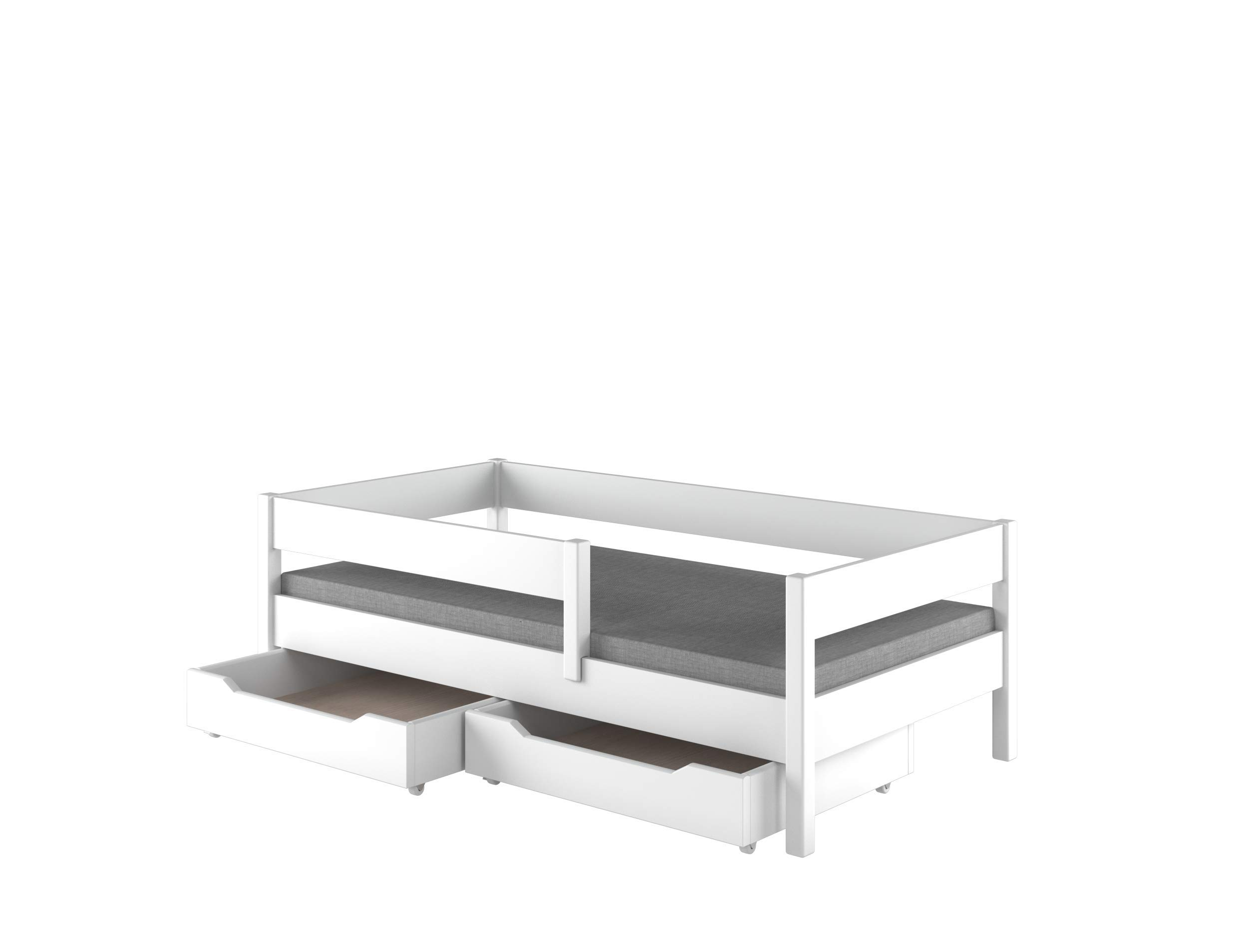 Single Beds For Kids Children Toddler Junior with drawers No Mattress Included (140x70, White) Children's Beds Home Bed with barriers - internal dimensions 140x70, 160x80, 180x80, 180x90, 200x90 (External dimensions: 147x77, 167x87, 187x87, 187x97, 207x97) Bed frame with load capacity of 150 kg, Fittings + installation instructions Universal bed entrance - right or left side, front barrier can be removed at later stage. 1
