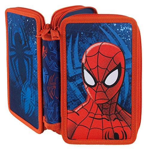 Scooli SPJU0430 Doppeldecker Schüleretui mit Stabilo Markenfüllung, Marvel Spider-Man, 29 teilig