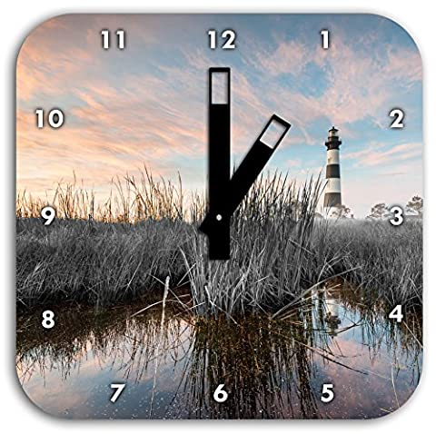 Bodie Iceland Lighthouse in North Carolina black / white, wall clock diameter 28cm with black square hands and face, decoration items, Designuhr, aluminum composite very nice for living room,