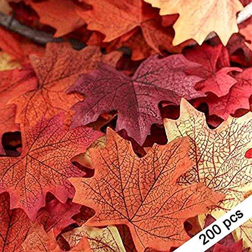 200Künstliche Fall Ahorn Blätter in eine Mischung aus Herbst Farben-Tolles Herbst Tisch Scatter für Fall Hochzeiten & Autumn Parteien verschiedene Farben (Tisch 12 Halloween Für)