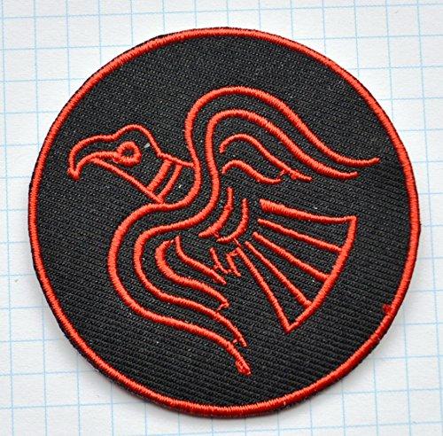 Rot Viking Odin Raven bestickt Tuch Eisen auf Patch Rote Eisen-auf Stoff