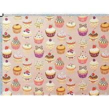 Tela de tapicería, tela de tapicería, tela de tapicería, tela, tela de la cortina, tela de algodón tela - cupcakes, impreso lado básico beige - con cupcakes