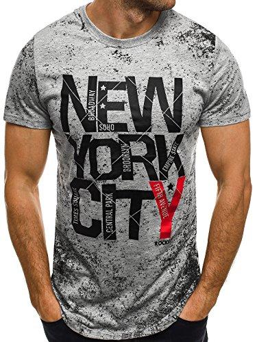 OZONEE Herren T-Shirt mit Motiv Kurzarm Rundhals Figurbetont J.STYLE SS012 Grau_JS-SS109