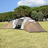 Skandika Turin Large Family Group 12-Person Tent with 3 Sleeping Rooms and Sun Canopy Porch (Grey/Orange) (Brown/Beige ...)