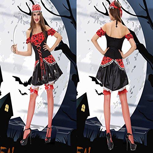 DLucc Halloween- Kleid weibliche Piratenkapitän Kleid Weihnachtskostümrollenspiel - Blei -Tänzer Kostüme Bühnenkleid