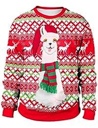 c19d25866d1 Sweat-Shirt Noel Femme Pull Noel Femme Rouge Imprimé Créatif Pull Noel Moche  Oversize avec