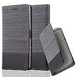 Cadorabo Hülle für Sony Xperia X Performance - Hülle in GRAU SCHWARZ – Handyhülle mit Standfunktion und Kartenfach im Stoff Design - Case Cover Schutzhülle Etui Tasche Book