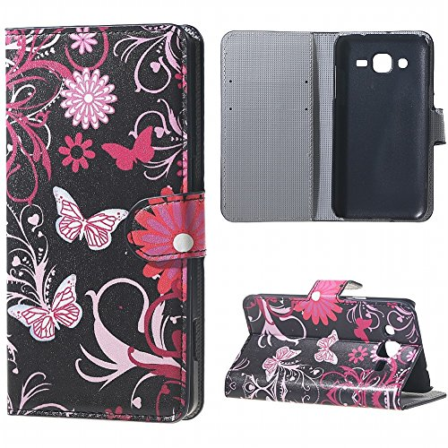DWaybox Galaxy J3 Cover Stand-up Feature PU Leather Folio Custodia Cover Case per Samsung Galaxy J3 / J3 2016 Custodia con Credit Card Pouch (Black Butterfly and Flower)