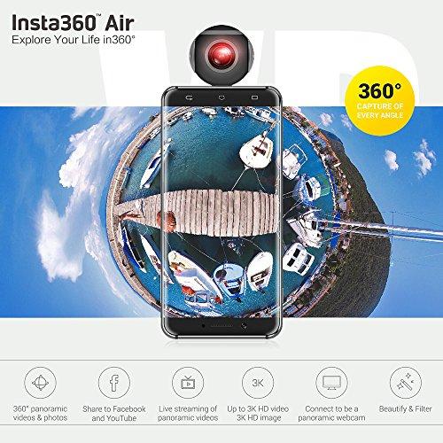 Insta360 Air Compact Mini Panorama 360 Grad 3K HD Kamera Dual Weitwinkel-Fischaugen-Objektiv VR Modus für OPPO R9 / Huawei P9 Mate9 / LG V20 Andriod Smartphone -