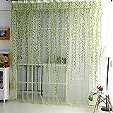Silver Fox Vorhänge | Gardine, romantisches ästhetisches Schlafzimmer, Wohnzimmer Wicker Vorhänge, transparent und frisches Design für Ihre Familie, um eine natürliche Atmosphäre hinzuzufügen (Grün)