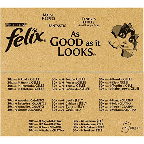 Felix So gut wie es aussieht in Gelee mit Rind, Huhn, Kabeljau und Thunfisch, Katzenfutter (120 x 100g Beutel) - 5