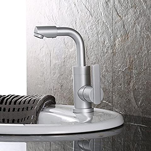 SBWYLT-Contemporáneo espacio aluminio lavabo Griferías para baño agua caliente y fría mezcla válvula grifo lavabo equipado con un tubo de entrada de