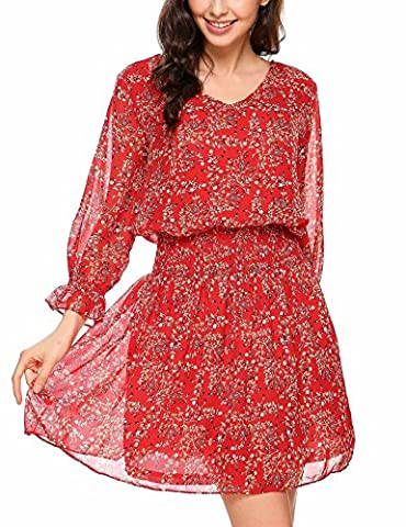 Meaneor Women's 3/4 Sleeve Floral Print Summer Chiffon Party Cocktail Beach Dress