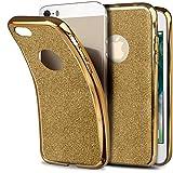Moozy Cover con Brillantini per iPhone 5s / iPhone SE, Glitter Dorati - Ultra Sottile Bling Custodia in Silicone Morbido TPU
