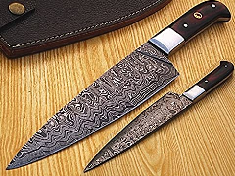 HANDMADE DAMASCUS STEEL 30CM CHEF KNIFE WITH ROSE WOOD HANDLE & SOLID STEEL BOLSTER, (BDM-1043)