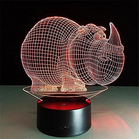 H&M Kreativ Fat rhino Schreibtischlampe 3d 7 Farben ändern Noten-Schalter Fernbedienung Tabelle LED-Licht-Nachtbeleuchtung Hauptdekoration Haushaltszubehör