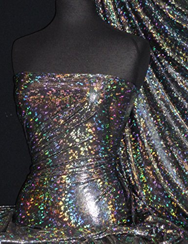 l Iridescent Stretch Spandex Lycra Fabric   Dancewear & Dressmaking Material   Same Day Dispatch   Sold by The Metre   by Tia Knight (Galaxy Disco Black, HMLYC64 BKSLV, 1 Metre) ()