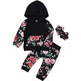 Qiraoxy Baby Girls Autumn Winter Long-Sleeved Cotton Floral Printed Raglan Sleeve Hooded Shirt + Floral Print Pants + Bowknot
