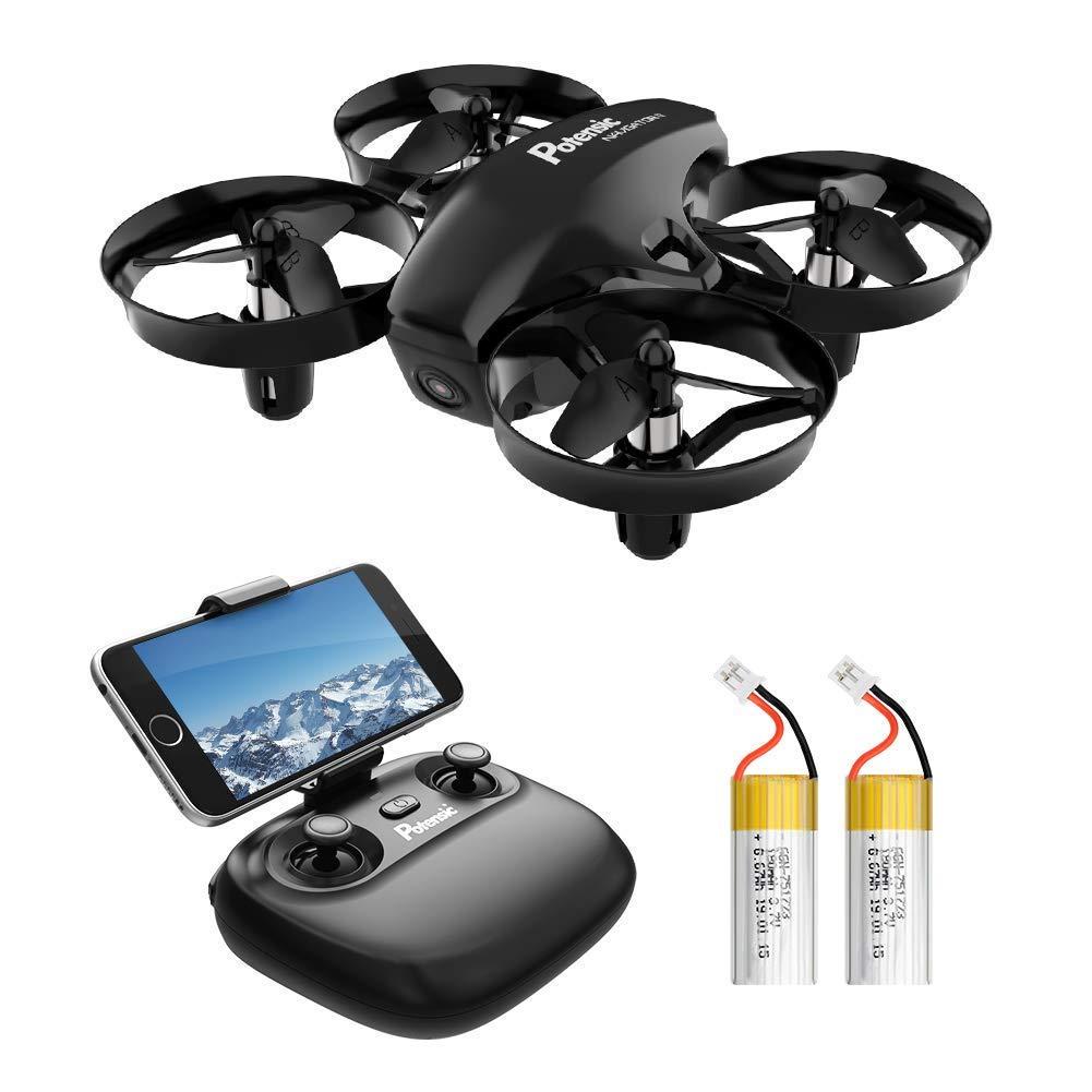 Potensic Mini Drone para Niños con Cámara, RC Quadcopter 2.4G 6 Ejes – Altitude Hold, Modo sin Cabeza, Control Remoto, Ajuste de Ruta, FPV en Tiempo Real, 2 Baterías, A20W