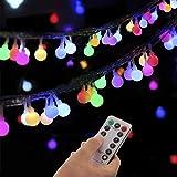 Guirlande Lumineuse Sphérique, Guirlande Lumineuse d'Extérieur avec Prise 100 LED 8 Modes avec télécommande pour Chambre à Co