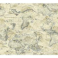 York Wallcoverings NY4837 Nautical Living Coastal Map Wallpaper, Cream/Ecru/Marine Blue by York Wallcoverings by York Wallcoverings