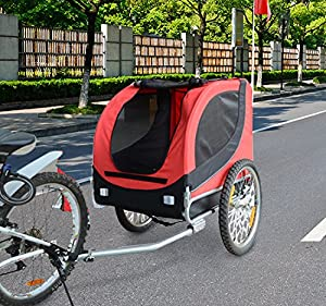 PawHut Bicycle Dog Carrier Jogger Kit Bike Trailer with Steel Frame Cover and Suspension