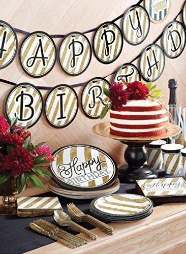34 Teile Dekorations Set zum 70. Geburtstag oder Jubiläum – Party Deko in Schwarz & Gold - 6