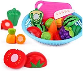 Realistic Sliceable Fruit and Vegetable Cutting Play Toy Set in Beaut-Full Basket, Can Be Cut in 2 Parts 9 Fruits and Vegetable, 1 Basket, 1 Knife and Board