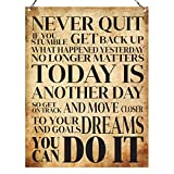 Never quit You can do it Inspirational Quote Vintage Wall Metal Sign 15 x 20cm