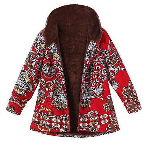 Manteau Femme,Xinantime Femme Hiver Chaud Outwear - Pochettes à capuchon à imprimé floral - Manteaux oversize vintage
