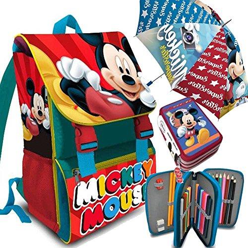 Kit Scuola 3 in 1 School Promo Pack Zaino Estensibile + Astuccio 3 Zip Accessoriato + Ombrello Salvaspazio Disney MICKEY MOUSE Topolino Edizione 2017-2018