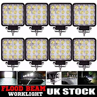 Autofather 48W LED Work Light Flood Lights Fog Headlight Car Truck SUV ATV Offroad Lamp Outdoor Lighting Super Bright, Pack of 8, 2 Years Warranty