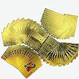 Amasawa Placcato Oro 24 K Playing Cartes,Giochi da Tavolo-Gold Card,Ideale Come Regalo di Natale,Carte per Animali d'oro in Oro, Euro Stile Foglia Oro. (Sfondo Euro)