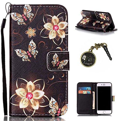 für Smartphone Apple iPhone 7 (4.7 Zoll) Hülle, Klappetui Flip Cover Tasche Leder [Kartenfächer] Schutzhülle Lederbrieftasche Executive Design +Staubstecker (7II)