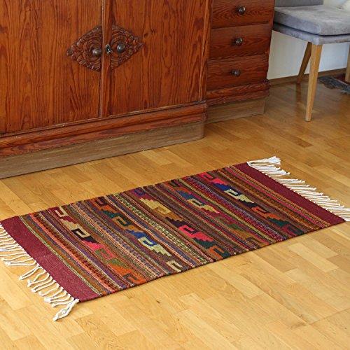Teppich Vintage 100x60 cm in weinrot - Naturfarben | Wolltepich | Handarbeit | Teppich aus Wolle handmade (Mexikanischer Teppich)