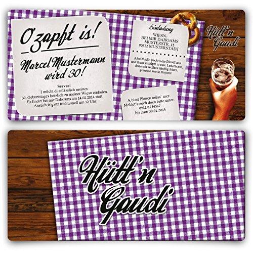 Einladungskarten zum Geburtstag (20 Stück) Hütt\'n Gaudi Frühschoppen O\'zapft is! Oktoberfest in Lila