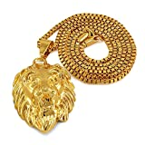 #8: Dolly Jewels 14K Gold Plated Attractive Mens Lion Head Pendant Necklace Jewelry
