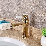LHbox Bad Armatur in Bad für Waschbecken Waschtisch Wasserhahn Waschtischarmatur Das Gold über Kupfer Waschbecken Küche Badezimmer Waschbecken Continental Heiß und Kalt wasseranschluß Zeile