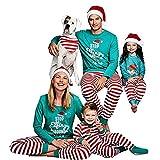 FastDirect Pigiama Felpa Tuta Famiglia Natale Pullover 2 Pezzi Girocollo Manica Lunga Top Pantalone Lungo a Riga Parziale Verde e Rosso con Lettera Babà Mamma Bambini