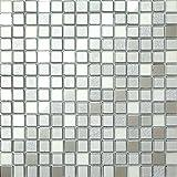 Glas Mosaik Fliesen 30cm x 30cm Matte Silber Matt, Spiegel und Glitzer (MT0046)